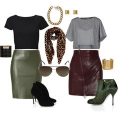 DKNY Bottle Green Leather Skirt - eStyleMe | THE BOO'TIQUE ...