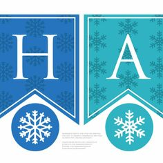 Printable personalized happy birthday banner for a Frozen birthday party - mix and match as you wish. Comes with two shades of blue for Elsa and Anna, plus optional snowflake circles to hang as party decorations.