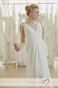 ♡ V Neckline Chiffon Bridal Gown Available for Sale/ Rent.   For gown details~ absolutebride@gmail.com
