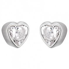 Gorgeous, small heart-shaped cubic zirconia stones, set in the lustre of sterling silver earrings. Sterling Silver Earrings Studs, Silver Jewellery, Stud Earrings, Small Heart, Heart Shapes, Heart Ring, Engagement Rings, Stone, Christmas