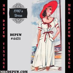 1940's Sun Dress in Any Size # 4421 | Mrs Depew Vintage