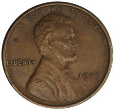 """1909 Lincoln Cent VF/XF These first year issue cents were produced for only a short time at the end of 1909, after the """"VDB reverse"""" was removed. Own a piece of U.S. Mint history today for only $4.88 http://mountvernoncoinco.com/collections/featured/products/1909-lincoln-cents"""