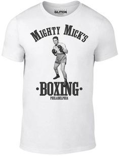 Mighty Mick's Boxing - Funny t shirt cool white retro fight fashion ring Rocky White Tee Shirts, White Tees, Funny Shirts, Cool T Shirts, Boxing T Shirts, Photo Colour, Fashion Rings, Retro, Mens Tops