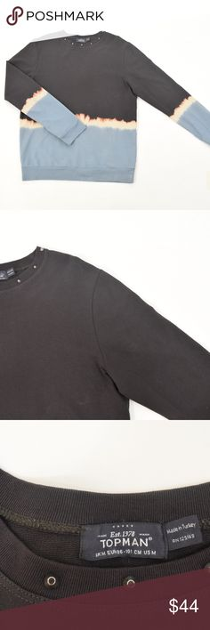TOPMAN Soft Cotton Dip-Dyed Studded Sweatshirt Edgy studded sweatshirt from TopShop's menswear line. Crew neckline, long sleeves, classic sweatshirt. Stretch cotton blend. Black, with a bleached dip-dye finish. Mens size M. Topman Sweaters Crewneck