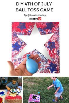 creativeqt.net/...  Who else loves that party feeling of gathering family together over the 4th of July weekend? It\'s such a fun time, and we\'ve got the perfect way to get crafting, and maybe a little competitive too, with your nearest and dearest. Karla from @blastasticday is sharing this super cute DIY ball toss game that she made with her son ready for Independence Day.  #4thofjuly #independenceday #july4th #familygames #processart #kidsactivities #balltoss