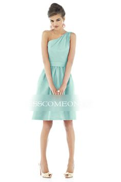 2013 Classic Belted Satin A-line Cocktail Dress with Zipper One Shoulder