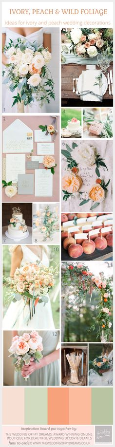 ivory peach green foliage wedding decorations and ideas.jpg