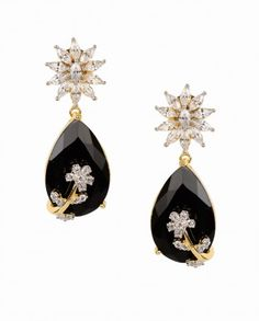 Black Stone Drop Earrings with Crystal Floral Top