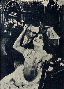 Still from the 1911 silent film When Love Was Blind.  The film is lost.