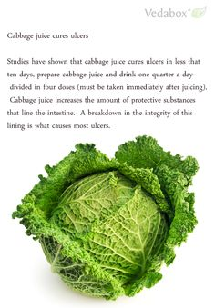 Cabbage juice cures ulcers  Studies have shown that cabbage juice cures ulcers in less that ten days, prepare cabbage juice and drink one quarter a day divided in four doses (must be taken immediately after juicing). Cabbage juice increases the amount of protective substances that line the intestine. A breakdown in the integrity of this lining is what causes most ulcers.  ==> www.Vedabox.com