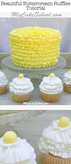 Learn to Pipe Gorgeous Buttercream Ruffles with tips 050 & 070! Tutorial by MyCakeSchool.com. Online Cake Decorating Tutorials & Recipes!  #buttercreamruffles #buttercreampiping #buttercream #mycakeschool