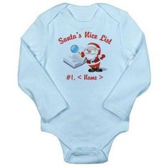 Cafepress Personalized Santa's Nice List Long Sleeve Infant Bodysuit, Infant Girl's, Size: 6 - 12 Months, Blue