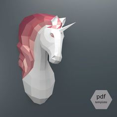 Papercraft Unicorn  Make Your Own Unicorn Trophy from par OXYGAMI