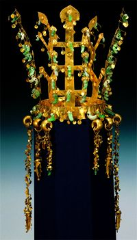 Ancient Korean Silla crown in the shape of the World Tree, with bean-shaped gogok pendants in glass and jade (nephrite?)