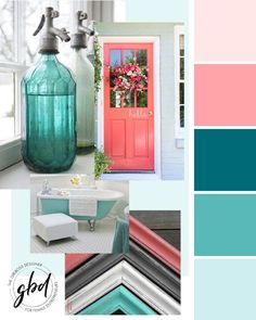 teal home accents Turquoise and coral color palette by Girlboss Designer. Coral Paint Colors, Coral Color Schemes, Coral Colour Palette, Color Schemes Colour Palettes, Bedroom Color Schemes, Bedroom Paint Colors, Bathroom Colors, Logo Color Schemes, Complimentary Color Scheme