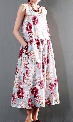 2016 pink print long sundress cotton casual summer dress sleeveless