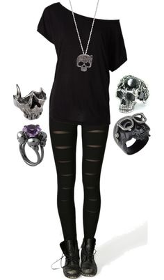 A fashion look from December 2012 featuring Tree rings, Gisele Ganne rings and Chris Habana rings. Browse and shop related looks. Gothic Outfits, Emo Outfits, Fashion Outfits, Womens Fashion, Skull Outfits, Rock Outfits, Dark Fashion, Gothic Fashion, Steampunk Fashion