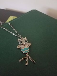 Silver Owl Necklace with Turquoise Stripes, Silver Necklace, Owl Necklace, Long Necklace, Turquoise Necklace