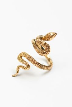 10k or 14k Yellow Gold Impressive Open Mouth Snake Bypass Ring