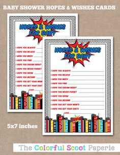 Baby Shower Advice Cards, Hopes and Wishes, Baby Hopes and Wishes, Superhero Baby Shower, Superhero Hopes and Wishes, Superhero  (#620) by TheColorfulScoot on Etsy https://www.etsy.com/listing/238938804/baby-shower-advice-cards-hopes-and