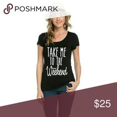 Take Me To The Weekend Scoop Neck, fitted short sleeve top   Rayon/Spandex   Made in USA Tops Tees - Short Sleeve
