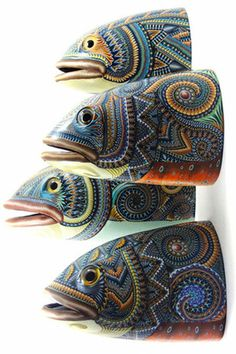The latest work of fimo creation which is done by Jon Anderson. He is always trying to do new in fimo art work. Pottery Animals, Ceramic Animals, Clay Animals, Ceramic Art, Ceramic Pottery, Clay Fish, Polymer Clay Kunst, Fish Sculpture, Art Textile