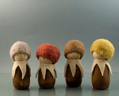 Mushroom wooden peg doll made of maple wool and cloth by Pojga