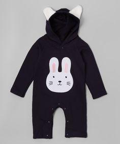 Look at this #zulilyfind! Black Bunny Hooded Romper - Infant by Leighton Alexander #zulilyfinds