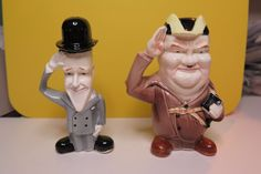 Vintage Laurel and Hardy Salt & Pepper Shakers S&P Japan