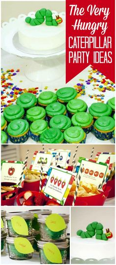 This Very Hungry Caterpillar party is perfect for a first birthday! Adorable cake and food ideas! See more party planning ideas at http://CatchMyParty.com!