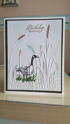 """Hunting Birthday Cards Unique Cardmaker Unknown Stamp and Color Goose From """"wetlands"""" Stampin Homemade Birthday Cards, Birthday Cards For Men, Homemade Cards, Birthday Greetings For Men, Homemade Greeting Cards, Happy Birthday, Embossed Paper, Embossed Cards, Masculine Birthday Cards"""