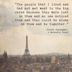 Eiffel Tower Paris Landscape Photograph | Hemingway Quote | Inspirational | Writer | Artist | Coffee Drinker