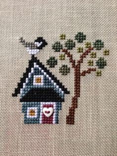 Black Capped Chickadee--Chirp by Bent Creek. Finished May 2015 Cross Stitch Bookmarks, Cross Stitch Needles, Cross Stitch Pictures, Cross Stitch Cards, Simple Cross Stitch, Cross Stitch Samplers, Cross Stitch Flowers, Cross Stitching, Hand Embroidery Stitches