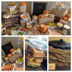 Fall Chili Bar, love the idea of wrapping the crockpot with burlap                                                                                                                                                     More