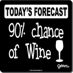 Today's Forecast: Chance of anything alcohol related.I'm drinking till I can't remember anything. Wine Signs, Bar Signs, Shop Signs, Wine Quotes, Bar Quotes, Wine Wednesday, Wine O Clock, In Vino Veritas, Wine Time