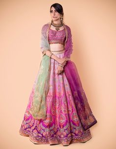 Ombre Kalidar Lehenga Embroidered With Zari. Paired With An Embroidere – Tarun Tahiliani Asian Wedding Dress, Wedding Dresses For Girls, Indian Wedding Outfits, Indian Outfits, Bridal Dresses, Flapper Dresses, Indian Designer Outfits, Designer Dresses, Elegant Dresses