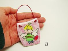 Mini Angel picture, cute kids decoration, Angel painting, polymer clay Angel, guardian angel, sweet baby Angel, unique gift for kids - pinned by pin4etsy.com
