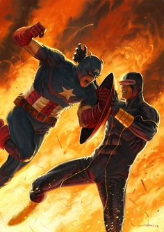 Cyclops Battles Captain America By Andrea Meloni
