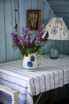 Lovely Table with blue and purple decor.