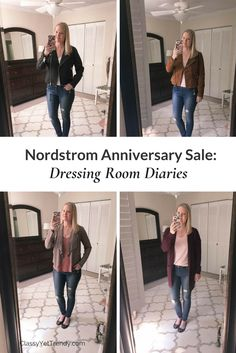 Dressing Room Diaries of the Nordstrom Anniversary Sale! Find out what I kept and what I returned. Lots of photos!  A few items reviewed are suede jacket, leather moto jacket, cardigan, sweater, tee, cold shoulder top, utility jacket, designer jeans, olive jeans, black jeans, high waist jeans, plaid scarf, booties and lace up flats.