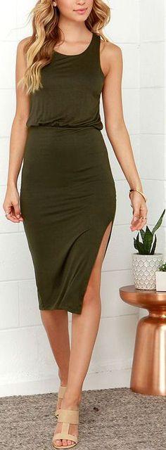 Olive Green Midi Dress  ❤︎