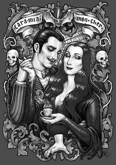 MORTICIA GOMEZ Cara Mia - mon Cher DinA4 8x11'' print - hand signed print. High Quality 350g matte couche paper - Addams family fanart