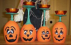 painted Jack O Lantern wine glasses