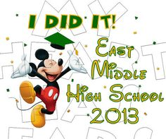 Printable Graduate Mickey Mouse Head T-Shirt Design or Magnet ...