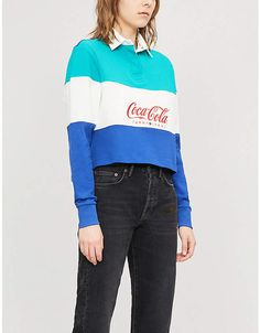 Tommy Hilfiger Tommy Jeans x Coca Cola cotton-jersey cropped top Bold Stripes, Cropped Top, Rugby, Coca Cola, Mom Jeans, Tommy Hilfiger, Rain Jacket, Windbreaker, Crop Tops
