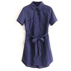 Yoins Navy Shirt Mini Dress ($27) ❤ liked on Polyvore featuring dresses, navy, navy blue short dress, short blue dresses, blue mini dress, navy mini dress and blue checkered dress