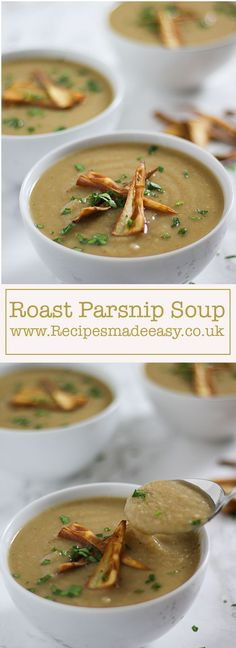 A warming winter soup, roasting the parnsips really brings out the flavour producing a really tasty soup with a lovely rich colour and flavour