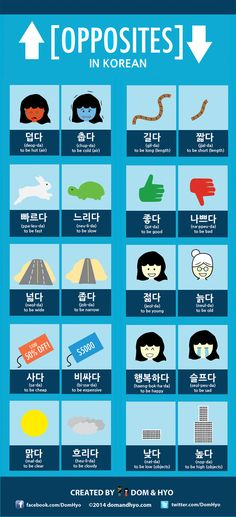 Educational infographic : Lots of vocabulary on opposites. This may be a two or three part series depending on how you guys like it. Korean opposite words are pretty fun although some may seem difficult to remember because Learn Basic Korean, How To Speak Korean, Cute In Korean, Korean Guys, Korean Style, Korean Words Learning, Korean Language Learning, Opposite Words, The Words