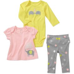 Child of Mine by Carters Newborn Girls' 3 Piece Elephant Dot Tee's and Pant Set: Baby Clothing : Walmart.com