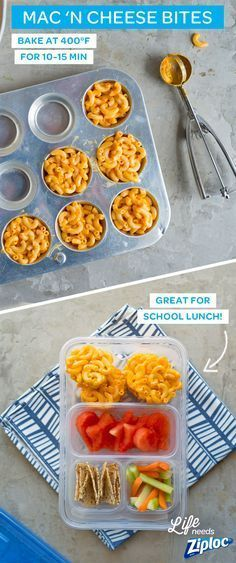 You don't have to sacrifice what you like to save time preparing lunches for you and your kids. Use this quick and easy tweak to make finger-friendly mac 'n cheese bites the whole family will love. Store the macaroni bites in a Ziploc® container and your cheesy bites will last until lunch. It works great in a school lunch bento box that even picky eaters will love. Turn leftovers into a crowd- pleasing lunch that's simple and healthy because it's baked, not fried!